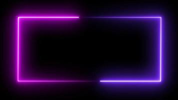 Abstract pink purple light neon frame laser animation