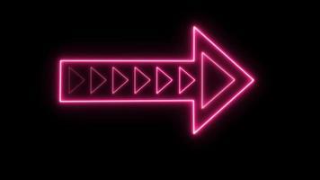 botão de piscar seta neon rosa video