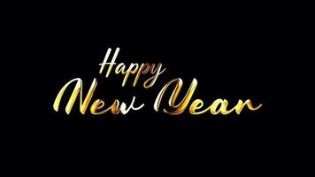 HAPPY NEW YEAR Golden Handwriting Text with Alpha Channel video