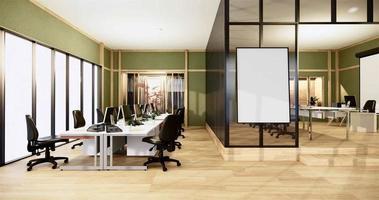 interior verde de um grande escritório