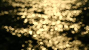 luz dourada desfocada reflexo na água