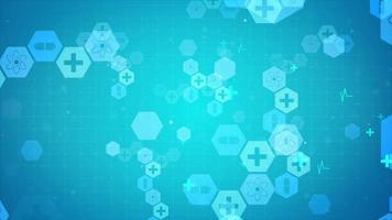 Blue background with hexagonal shapes and icons