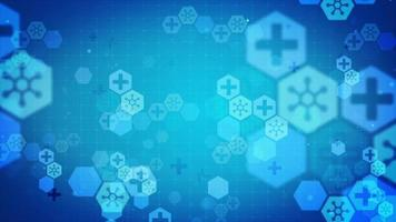 Blue background with hexagon shapes and science icons