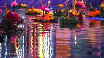 Loy Kratong Festival in river video