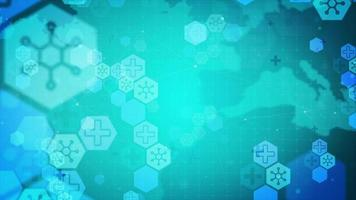 Blue- green background with hexagonal shapes