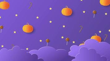 Pumpkins and Sweets on a Violet Sky