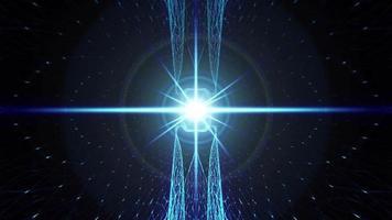 wireframe a matrice di riflettori a bagliore blu al neon