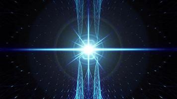 irradiando luz neon azul holofote matriz wireframe video