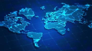 mapa del mundo azul con plexo de fondo de rayas