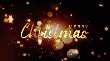 texto dourado feliz natal com bokeh dourado caindo dos flocos de neve