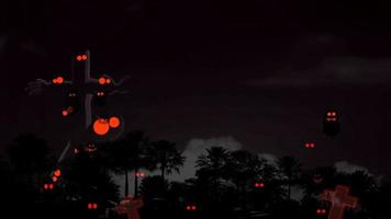 Halloween night silhouette palm tombs and red eyes