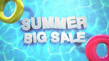 texto grande liquidação de verão na piscina