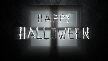 Text Happy Halloween und mystisches Fenster