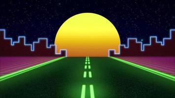 carretera de neón y ciudad