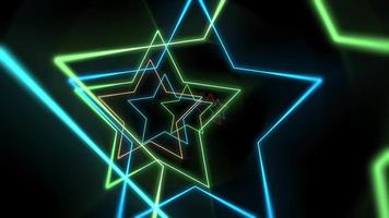 Colorful laser neon stars video
