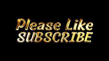 por favor, como subscrever efeito de luz de loop de texto dourado video