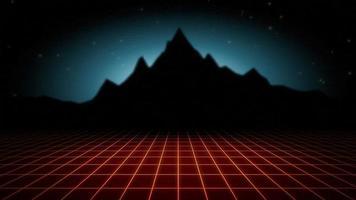 rejilla roja y montaña