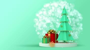 Green Christmas tree and gift boxes on green background