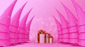 Geschenkboxen und Weihnachtsbäume mit Schnee