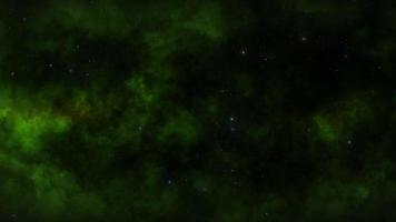 Green clouds and stars in space