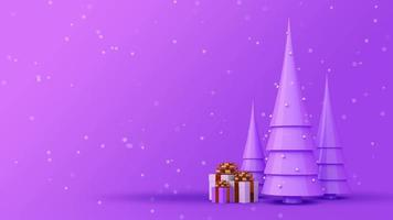 lila Weihnachtsbaum und Geschenkboxen auf einem lila Hintergrund