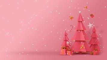 árvore de natal rosa e caixas de presente com neve video