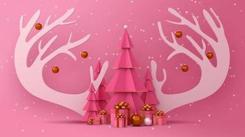 Weihnachtsbaum, Geschenkboxen und Rentiergeweih mit Schnee