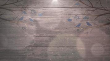 pássaros nas árvores na madeira