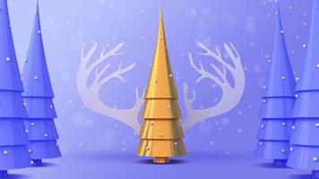 goldener Weihnachtsbaum und Rentiergeweih mit Schnee