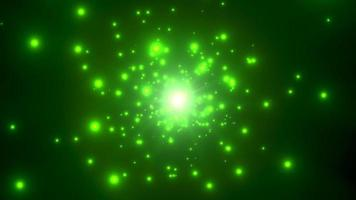 partículas brillantes verdes volando video