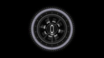 elementos del círculo hud blanco sobre un fondo negro