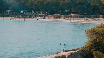 Wide shot of Cala Bassa beach Ibiza