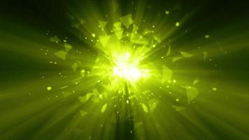 Fogo de artifício estrela mágico verde limão com partículas explodindo