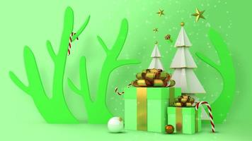 Weihnachtsbaum und Geschenkboxen mit Schnee auf grünem Hintergrund