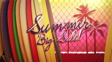 Text Summer Big Sale and surfing boards video