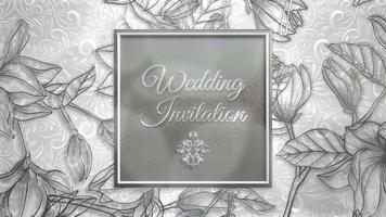 convite de casamento em moldura de flores