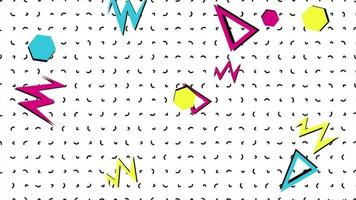 Memphis geometric shapes on white background