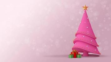 Pink Christmas Tree and Gift Boxes on A Light Pink Background