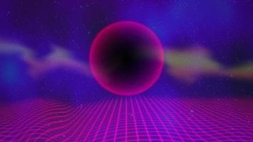 esfera roxa retro e grade