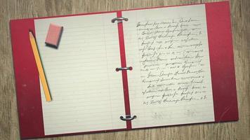 anteckningsbok och penna video