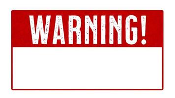 fundo de sinal de alerta vermelho com animação de espaço em branco
