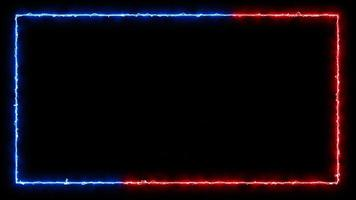Beautiful blue and red neon light square frame video