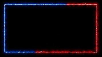 hermoso marco cuadrado de luz de neón azul y rojo video