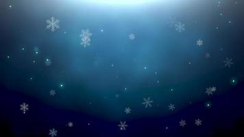 Falling White Snowflakes and Stars Over a Dark Background