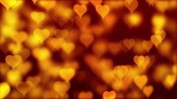 corações dourados amarelos flutuando video