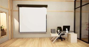 escritorio de oficina y animación de pizarras blancas video