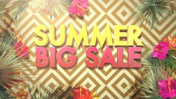 Text Summer Big Sale and flowers with leaf video