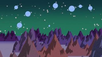 Animations-Cartoon-Planeten und Berge im Weltraum video