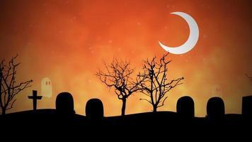 Panorámica de fantasmas en un cementerio. video