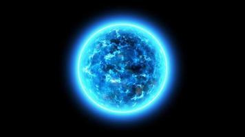 esfera azul abstrata brilhando video